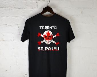 10abd24ca11 Toronto St Pauli FC Canada Maple Leaf Skull Sankt Pauli T-shirt