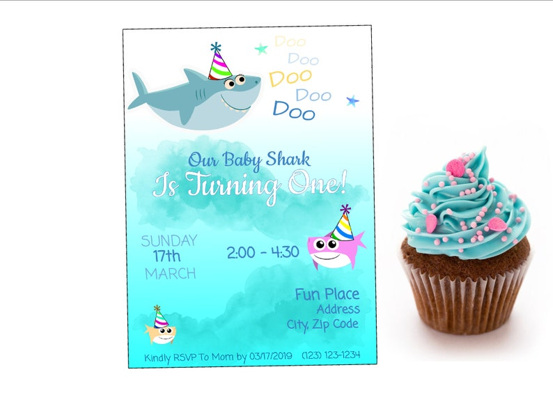 Baby Shark Song Birthday Party Invitation - Personalized - Digital Download  - First Birthday