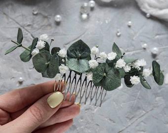 Wedding eucalyptus hair piece - comb Bridal headpiece