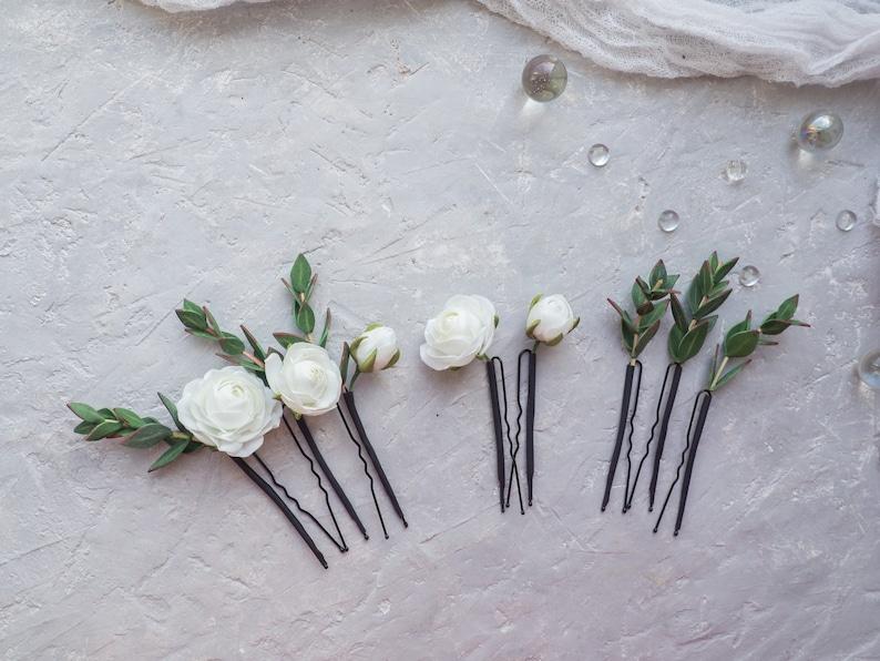 White rose flower wedding hair piece floral head piece bride