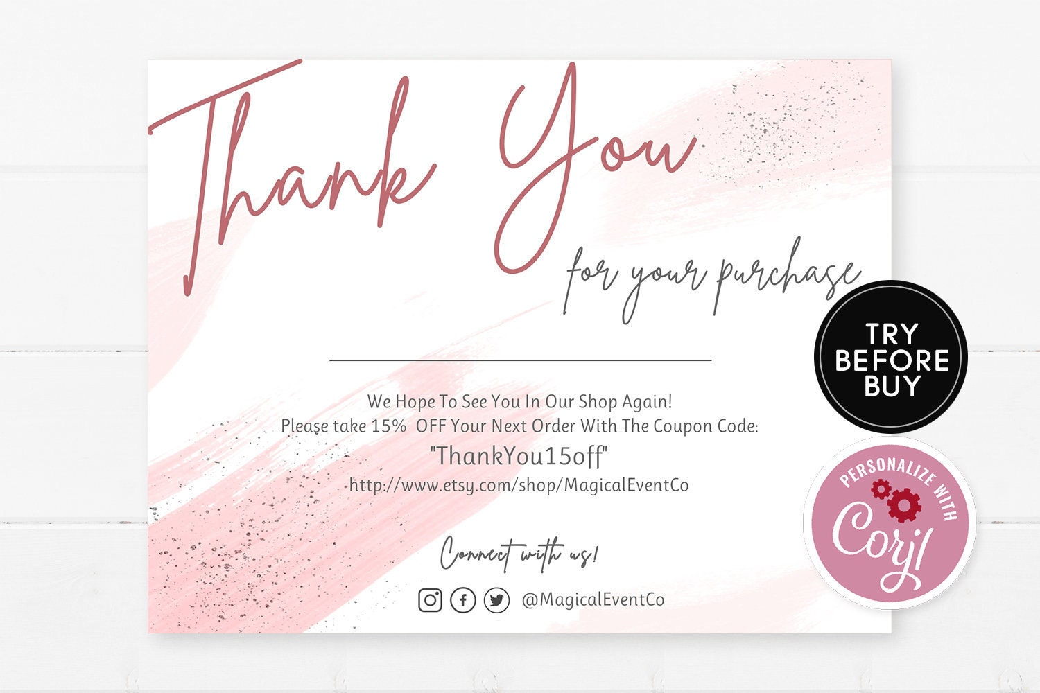 pink thank you for your purchase cards template small  etsy