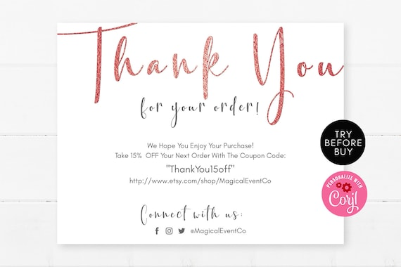 Rose Gold Thank You For Your Order Cards Template Small Business Online Business Etsy Seller Purchase Editable Instant Download Diy File