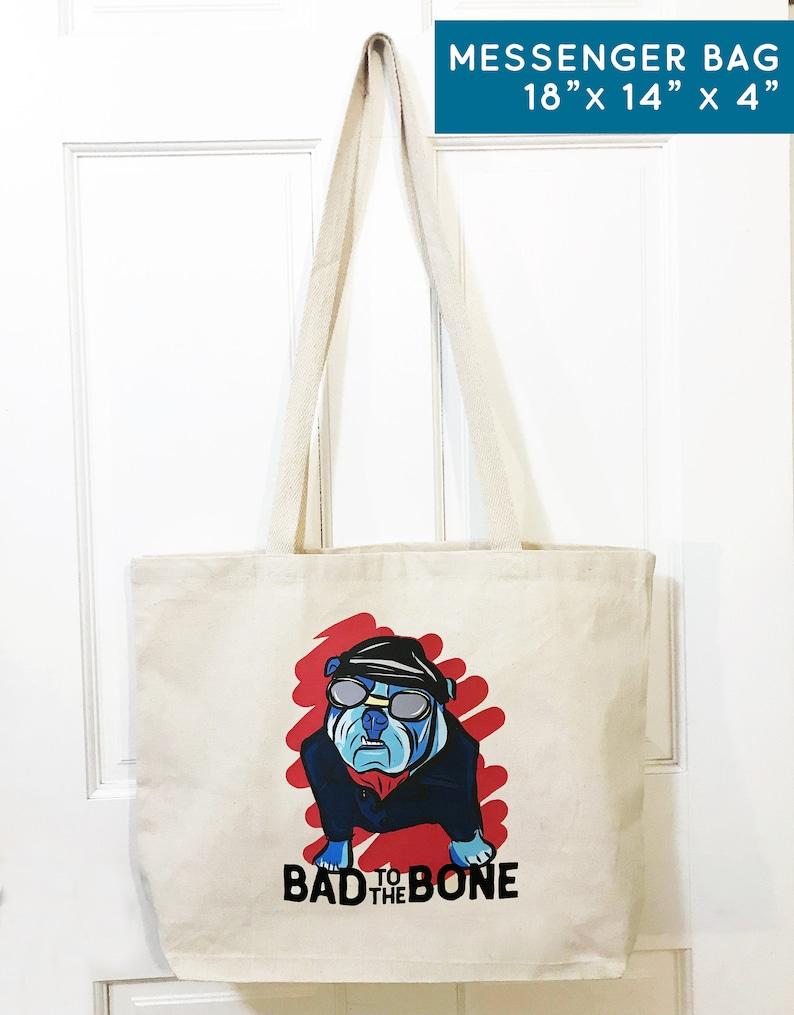 Dog Owner Bull Dog Illustration Canvas Tote Bag Pet Portrait Gift for Dog Lover