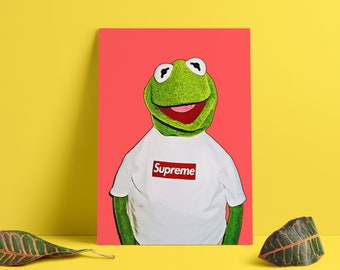 612cfce858f3 Kermit Frog Medicom Toy Hand Drawn Sketch Print Canvas Poster Wallart Wall  Art Deko Hypebeast Kaws Digital Artwork Supreme Red Hyped Hype