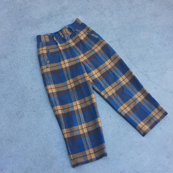 Vintage plaid high waist trousers