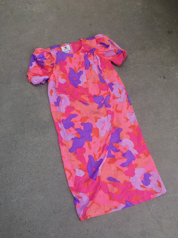 Vintage 80s floral puff sleeve dress