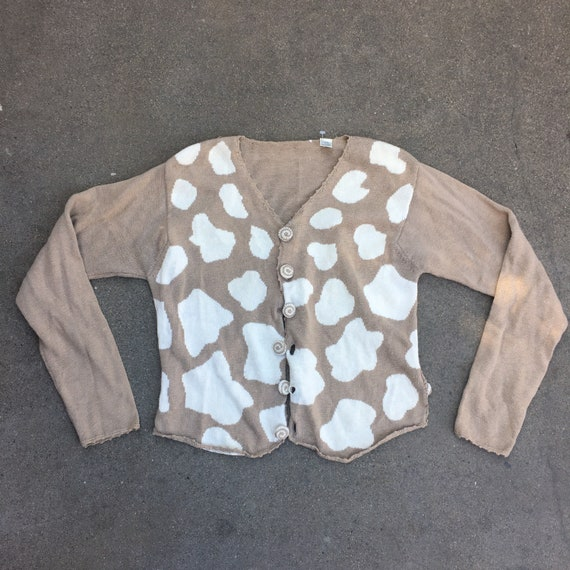 Vintage cow print knitted cardigan