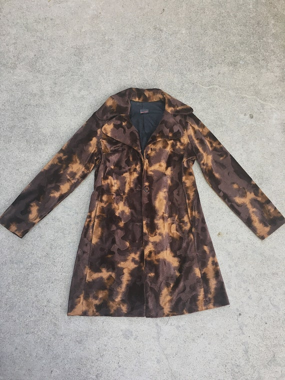 Vintage cow print trench jacket