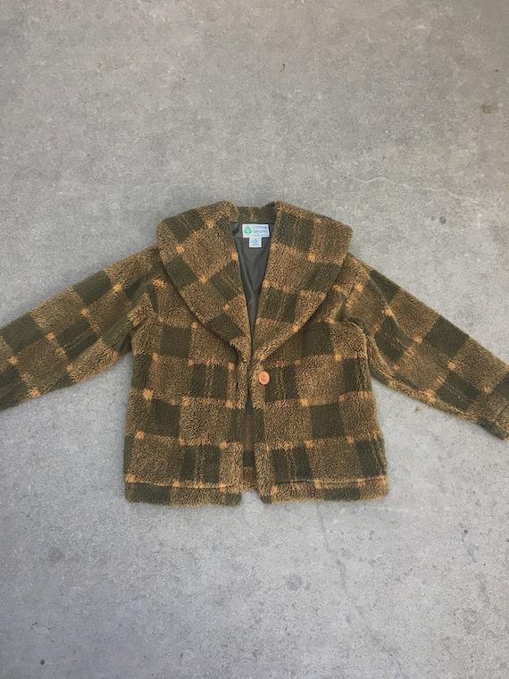 Vintage plaid teddy coat