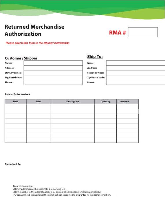 Rma Form Returned Merchandise Authorization Form Fillable Etsy