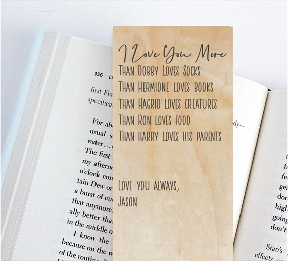 Harry Potter Valentines Day Card Wood Bookmark Unique Etsy