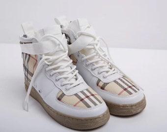 new arrivals c6193 bd0bf Nike Burberry Air Force 1 Luxury Designer Custom Sneaker