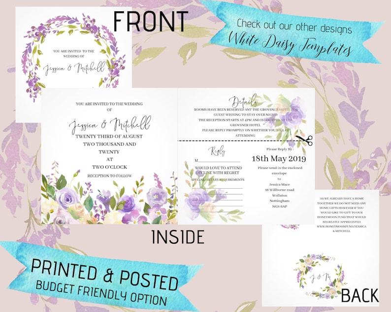 Wedding Invitations Printed All In One Wedding Invite Cheap Wedding Invitation L Lilac Wedding Invite Uk Seller