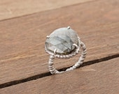 Oxidized Silver Ring 925 with faceted labradorite - exclusive unique piece from the Rocailles collection