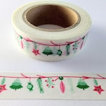 Christmas Washi Tape, Red & Green Holiday Ornaments, Festive Decorative Tape for Scrapbooking, Crafts, Planners, Bullet Journals, Gift Wrap