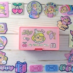 Kawaii Sticker Set, Cute Holographic Stickers, Sticker Box, Pink Stickers for Laptops, Scrapbooking, Planner Supplies, Bullet Journal, Gifts