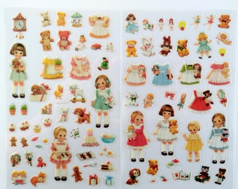 Cute Paper Doll Mate Sticker Pack, Vintage Girls Baby Animal Sticker Set for Scrapbooking & Journals, Embellishment for Planners and Crafts