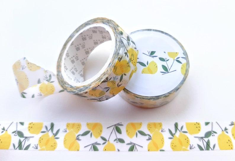 Lemon Washi Tape; Citrus Fruit Decorative Masking Tape 15mm x 7m