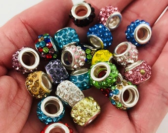 7c1b48e1b 4 Rhinestone Beads - 10mm bead with 5mm hole - Pandora Style - 20 Colors  Available - Beautiful!