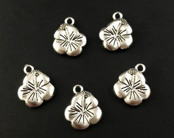 CTHBFL Sterling Silver Hisbiscus Charm Flower Charms quality charms charm findings Jewelry Findings Charm Supplies