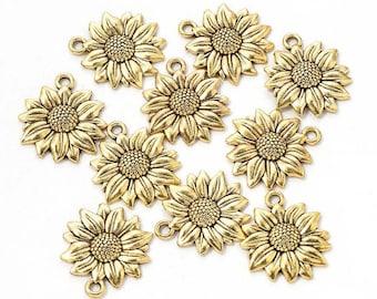 BULK SALE 100 Sunflower Charms,Antique Silver Tone-RS796