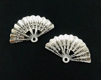 4pcs-silver filigree Fan charm silver tone fan charm