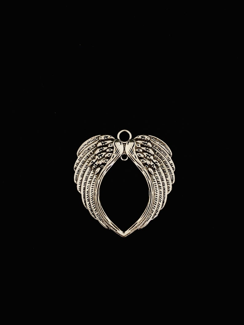 Antique Silver Tone 1 Angel Wings Connector Pendant Angel Wings Pendant XL