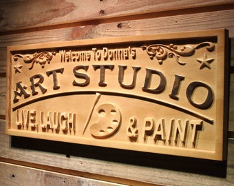 wpa0465 Name Personalized Art Studio Live Laugh Paint Home Décor Housewarming Gifts Wood Engraved Wooden Sign