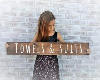 Wood pool towel sign | Etsy