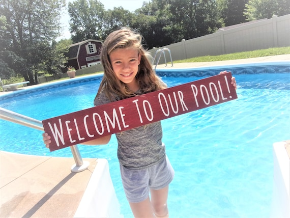 Welcome to our pool sign/swimming pool signs/swimming pool decor/new pool  gift/swimming pool gifts/swimming pool art/pool decor/pool party