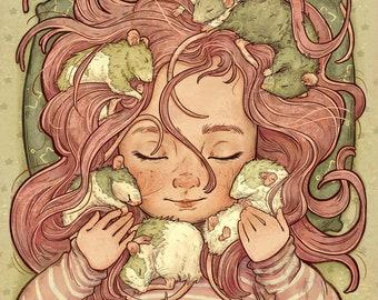 Rat Cuddles- whimsical children illustration