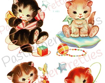 Vintage Retro Nursery Baby Kittens Printable Decals Images Collage Sheet Instant Digital Download Lot of 4 Cute Kitsch Kitty Cats 1950s