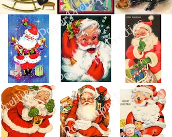 50 Vintage Printable Christmas Cards So Many Santas Collage Collection ALL Mid Century Santa Claus Images PDF Instant Digital Download