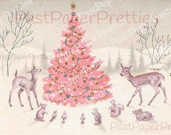 Vintage Printable Snowy Pink Christmas Tree Woodland Animals Forest Scene Card Image Instant Digital Download Kitsch Retro Holiday Clip Art