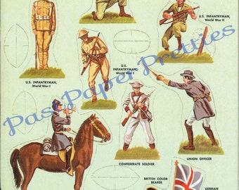 Digital Download Vintage Roman soldiers and gladiators Paper Dolls