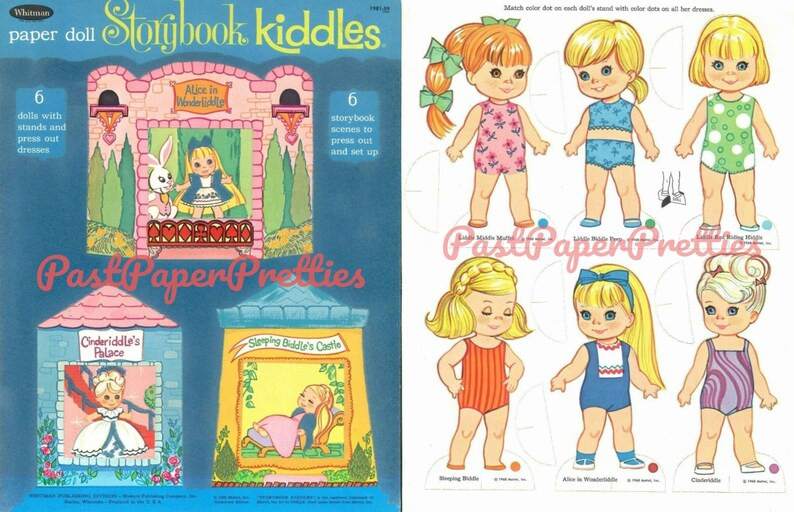 image regarding Printable Vintage Paper Dolls named Typical Paper Dolls Storybook Liddle Kiddles c. 1968 Printable PDF Fast Electronic Obtain 7 Lovely Childhood Toy Dolls Clip Artwork