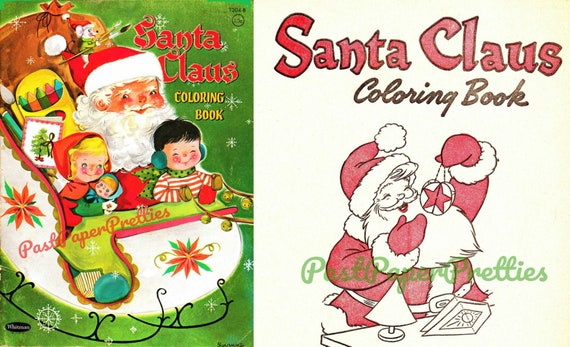 Vintage Christmas Coloring Pages Santa Claus Coloring Book C Etsy
