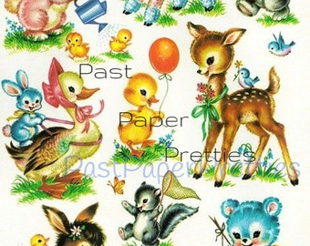 Vintage Retro Nursery Baby Animals Printable Decals Images Collage Sheet Instant Digital Download Lot of 9 Cute Designs 1950s