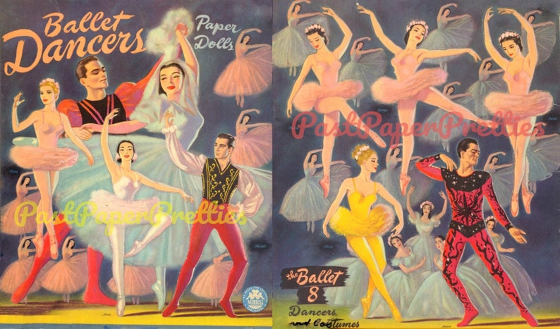 photo about Printable Vintage Paper Dolls titled Basic Paper Dolls Ballet Dancers c. 1947 Printable PDF Instantaneous Electronic Down load 8 Place Performers Theatrical Dancers Clip Artwork