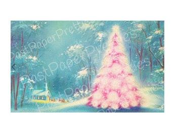 Vintage Printable Snowy Pink Christmas Tree Church Forest Scene Card Image Instant Digital Download Kitsch Retro Holiday Clip Art