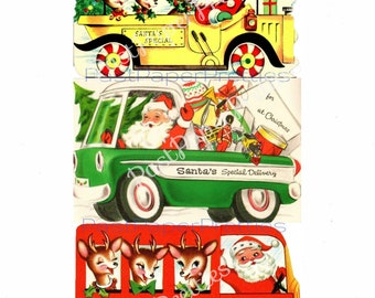 Vintage Printable Santas Special Delivery Vehicles Christmas Cards PDF Instant Digital Download Kitsch Mid Century Car Truck Bus Images