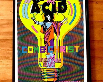 LORDS OF ACID Christian Death Combichrist rare signed gig poster by artist Adam Turkel Florida St. Peterdburg State Theatre Goth Acid House