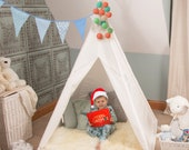 Teepee Tent for Kids, Children 39 s Playhouse, Set, Tipi, White,Indoor,Outdoor, Cotton Canvas, NEW Design- FREE Mat, Lights, Bunting Flags