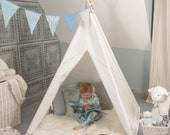 Teepee Tent for Kids, Children 39 s Tipi, Playhouse, White,Indoor,Outdoor, Cotton Canvas, NEW Design- FREE Mat, Lights, Bunting for 1st 10 SOLD