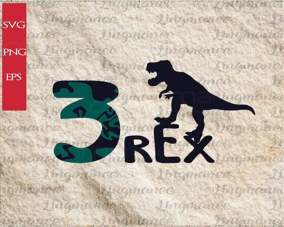 Dinosaur 3rd Birthday Svg T Rex Dinosaur Svg Three Rex Svg 3 Etsy