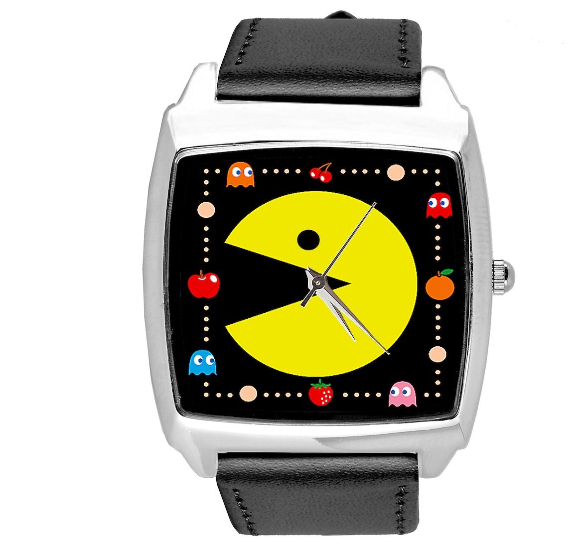 Pac Man quartz square watch with black leather strap