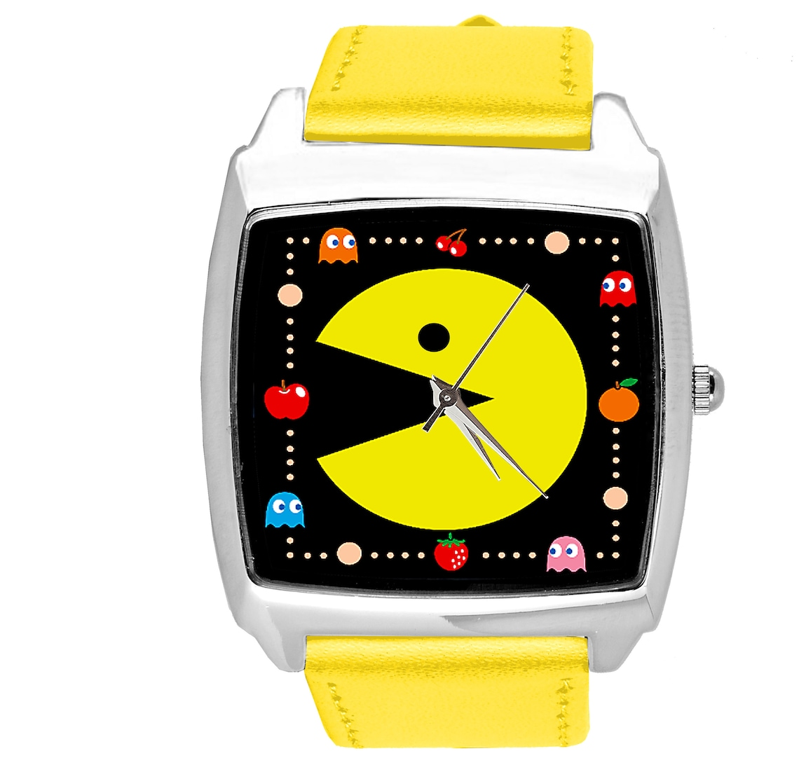 Pac Man quartz square watch with real leather strap