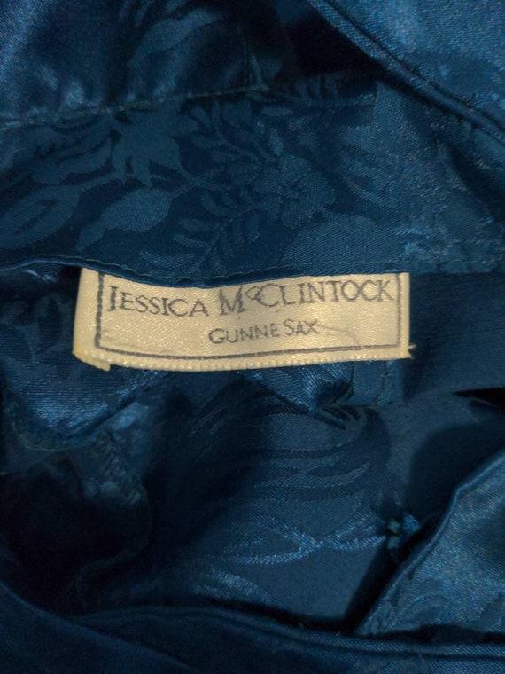 1980s Jessica McClintock Gunne Sax Teal Floral Dr… - image 7