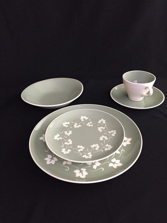 "Harkerware Sage Green /& White Coffee Cup 3/"" high Mid-Century Modern"
