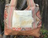 Big Shoulder Bag with cow hide pocket
